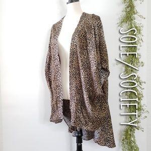 SOLE/SOCIETY leopard print kimono cardigan